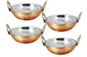 Set of 4 Hammered Copper Karahi Bowls 1